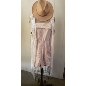 Tan romper with pockets